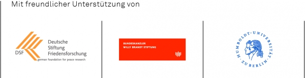 Logo der Foerderer der INF-Tagung 2017: Deutsche Stiftung Friedensforschung, Bundeskanzler-Willy-Brandt-Stiftung, Humboldt-Universität zu Berlin