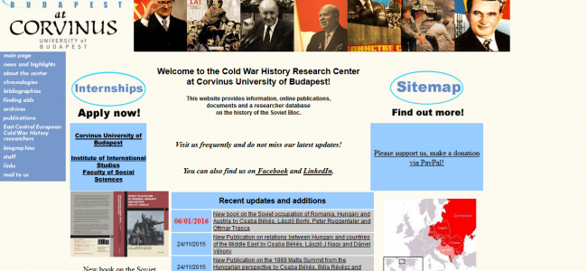 Photo: Homepage, by Cold War History Research Center, Budapest (CWHRC)